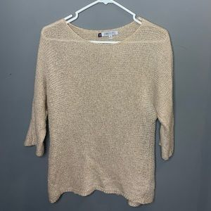 Jennifer Lopez 3/4 sleeve beige/gold sweater MED